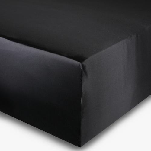 Spannbettlaken Seide schwarz 180x200cm