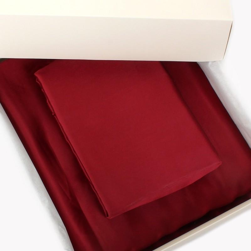 Einzelstück: Seidenbettwäsche Set weinrot 160x210cm