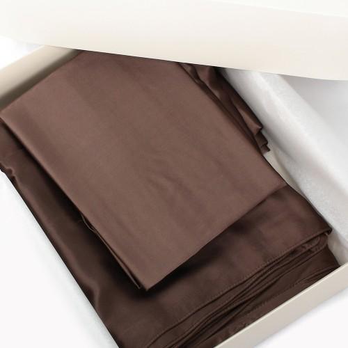 Einzelstück: Seidenbettwäsche Set dunkelbraun 200x210cm